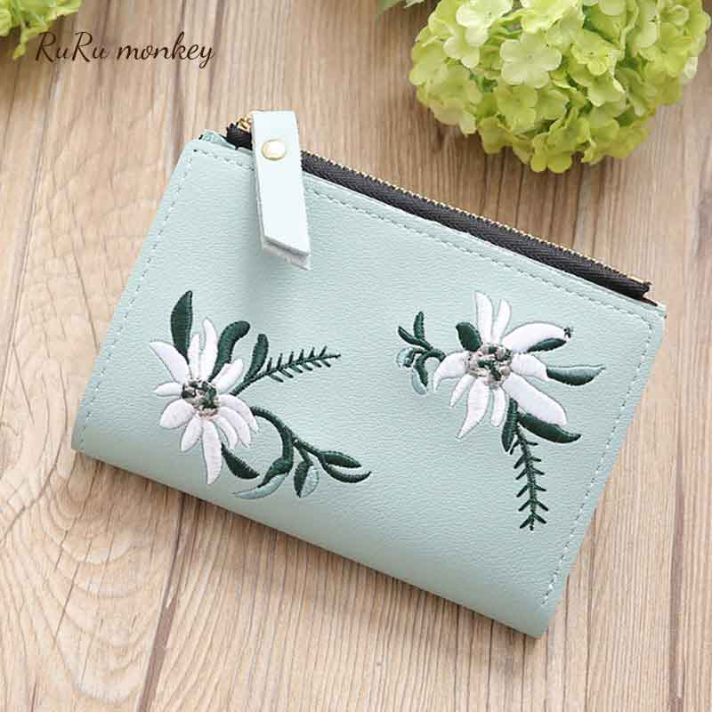 Candy Color Women Wallet 2 Fold Purse Card Holder Purses Mini Short Student Wallet Female Embroidery Thin Zipper Wallet in Wallets from Luggage Bags