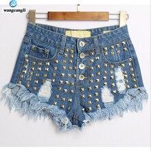 Джинсы женские 2017 улица прилив персонализированные моды заклепки шорты прилив узкие джинсы заклепки джинсовые женские брюки джинсы летние брюки