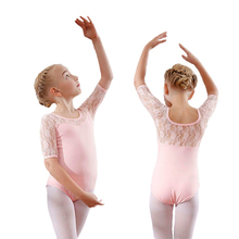 girls ballet leotard gymnastics lace dance for ballerina half sleeve cotton wear