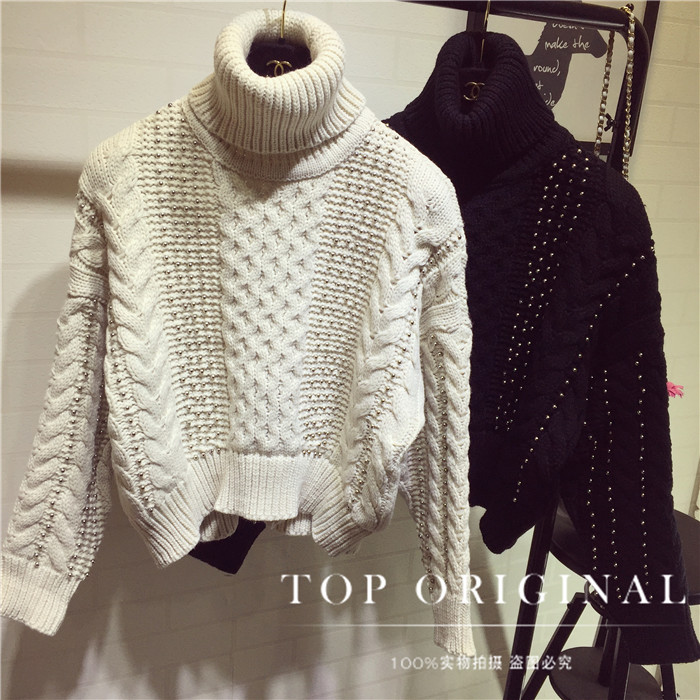 Pullover Women Sweater 2017 The New Sweater Female Manual Order Bead Cord Knitting Brief Paragraph Raglan Sleeve Turtleneck