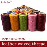 200 м метр 150D 1,0 мм плоский кожаный вощеный моток веревки сшивание для кожаной фабрики или кожевенного ремесла DIY несколько цветов выбрать