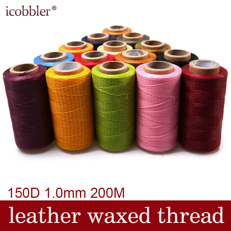 200M Meter 150D 1 0mm Flat Leather Waxed Thread Cord Stitching for Leather  Factory or Leathercraft DIY Multiple Colour Choose