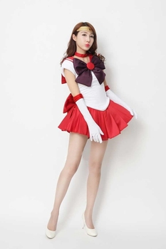 2020 New Anime Sailor Moon Cosplay Costume Sailor Mars Costumes Carnaval/Halloween Costumes for Women/Kids Custom Any Size 2
