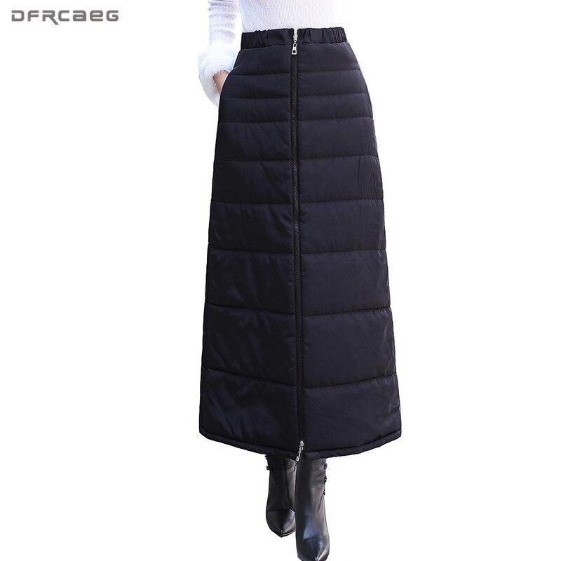 Preto das Mulheres de Inverno Para Baixo Algodão Longo Lápis Saias 2018 Moda elástico de Cintura Alta Engrossar Plus Size Saia Saia Feminina longa
