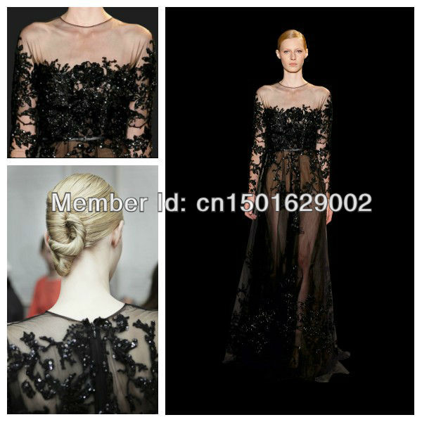 Ph0843 Black Long Sleeve Dress With Embroidered Lace Guipure