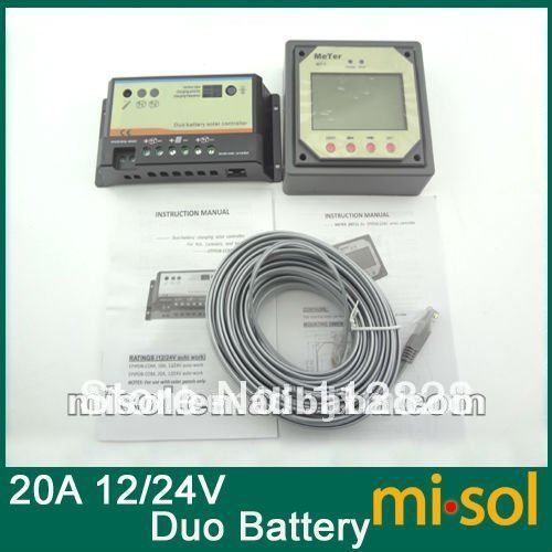 Solar Regulator 20A 12/24V, for two Battery Charging, with remote meter, new sm206 solar power meter for solar research
