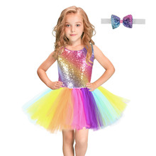Rainbow Sequins Tutu Dress for Kids Fashion Backless Sleeveless Tulle Dress Girls Clothes Colorful Children Girl Party Frocks