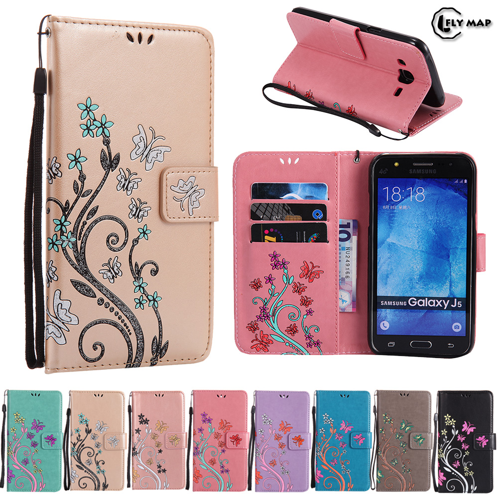 Galleria fotografica Butterfly Case for Samsung Galaxy J3 2016 J320FN J320F Floral Leather Flip Cover Wallet Phone Case SM J320H J 3 J320F J320 Bag