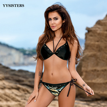 Women Swimsuit Bikini 2019 Push Up Camouflage Swimwear Halter Trikini Bathing Suit Biquini Beach Wear Plus Size Bikinis Set цена 2017