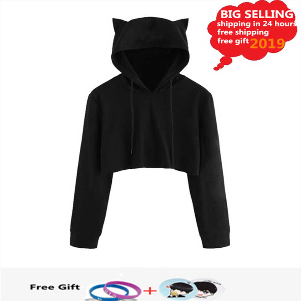 Kawaii Crop Top Winter Cat Ear Anime Hoodie Pullovers Women Autumn Long Sleeve Black Short Sweatshirt Ladies Hoodies Casual Tops