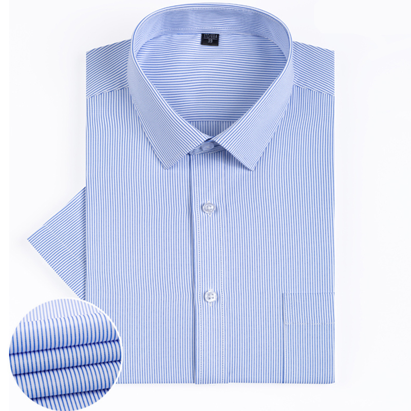 Easy Care Non-iron Slim Fit Striped Short Sleeved Summer Fashion Formal Square Collar Classic Soft  Business Men Dress Shirts