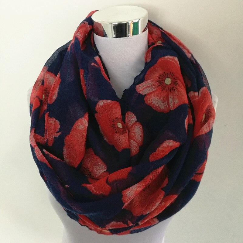 New Women Ladies Fashion Viscose Cotton big flowers Print infinity   scarf   Fashion Poppies   Scarves   Shawl   Wrap   hot sale neckerchief