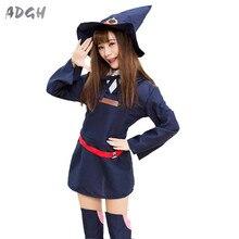 אנימה מכשפה קטנה אקדמיה Akko Kagari Cosplay תלבושות לוליטה בנות חולצה שמלת חמוד מכשפה קוספליי אחיד תלבושת זרוק ספינה