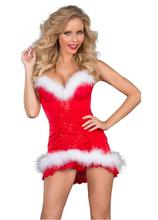 New Hot Sale Red Sexy Lingerie Hot Mini Dress Intimates Villus Sexy Christmas Costumes Female Disfraces Adultos Mujer Sexy CE120