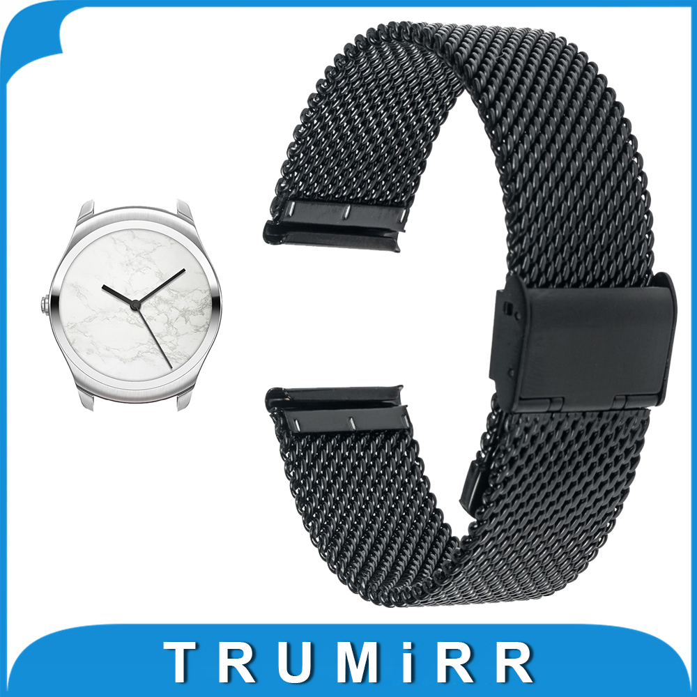 20mm Milanese Watch Band + Tool for Ticwatch 2 42mm Mesh Stainless Steel Watchband Metal Strap Bracelet Black Rose Gold Silver stainless steel cuticle removal shovel tool silver
