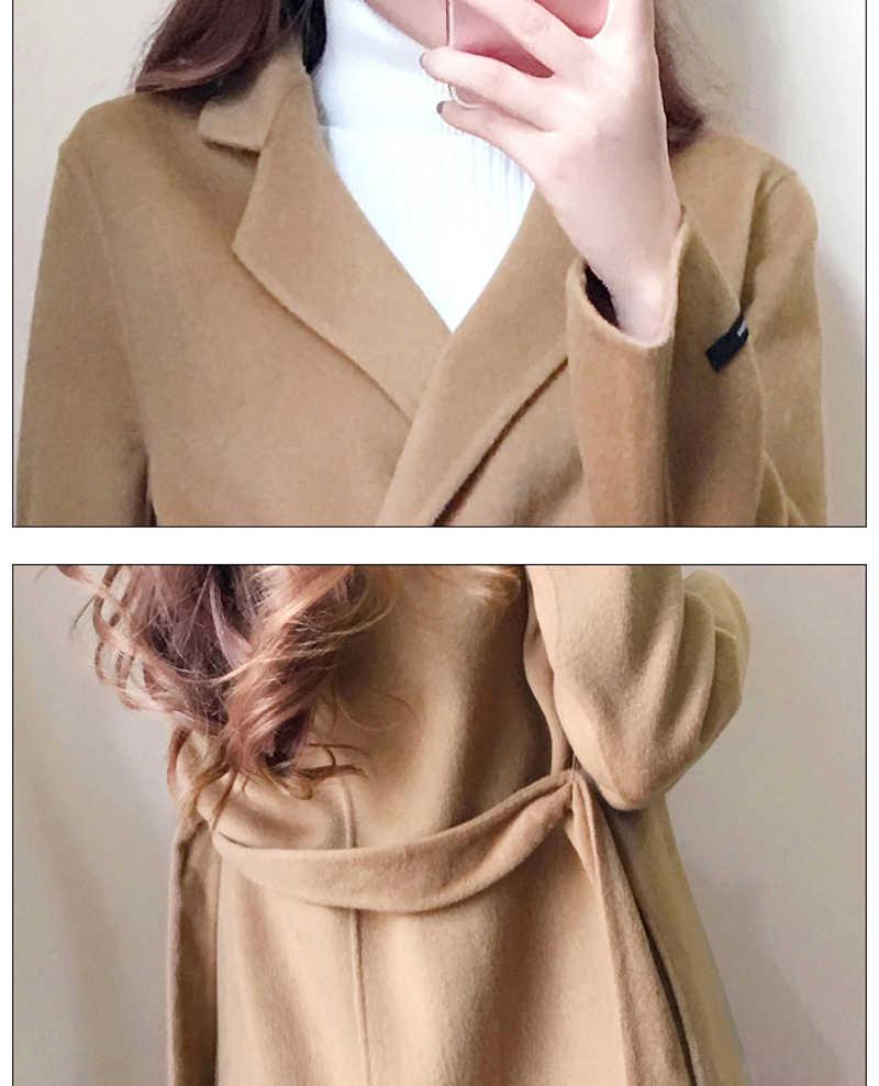 U-SWEAR מקרית סתיו חורף תערובת צמר אלגנטי מעיל אופנה חדש דש ארוך שרוול עם מוצק צבע נשים של בגדי Vadim