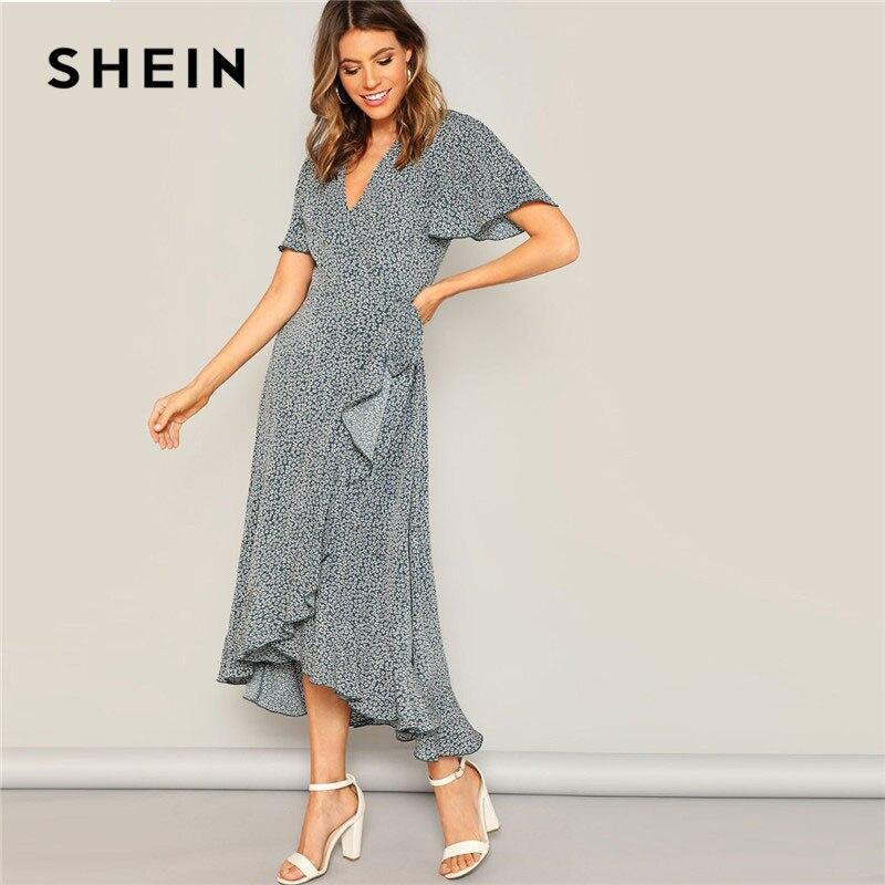 e0d5d0c424 SHEIN Lady Blue Flutter Sleeve Ruffle Hem Wrap Ditsy Floral Maxi Dress  Summer Boho V Neck High Waist Asymmetrical Hem Women Dres-in Dresses from  Women's ...