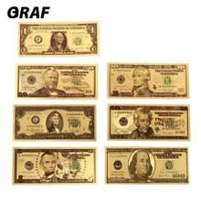 7 adet/takım 1 2 5 10 20 50 100 dolar koleksiyonu antika kaplama yüksek kalite abd hatıra notlar hatıra sahte para banknot