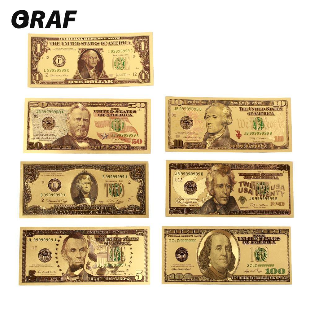 7pcs/set 1 2 5 10 20 50 100 Dollar Collection Antique Plated High Quality USA Commemorative Notes Souvenir Fake Money Banknotes