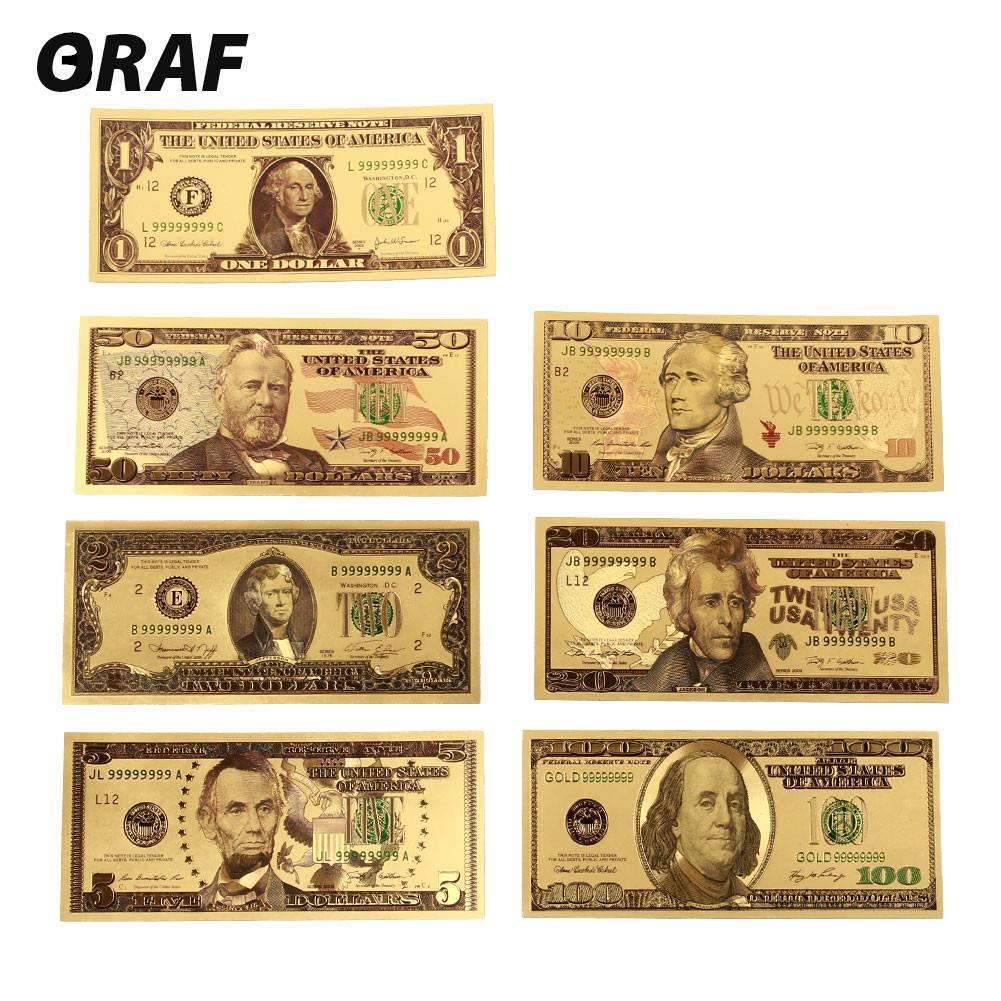 7pcs/set 1 2 5 10 20 50 100 Dollar Collection Antique Plated High Quality USA Commemorative Notes Souvenir Fake Money Banknotes