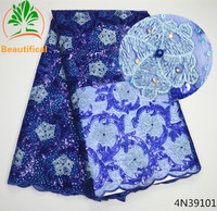 Beautifical Blue Organza Lace Fabrics 2017 New Arrival African Sequins Fabric For Party Dress French Lace Fabric 4N391