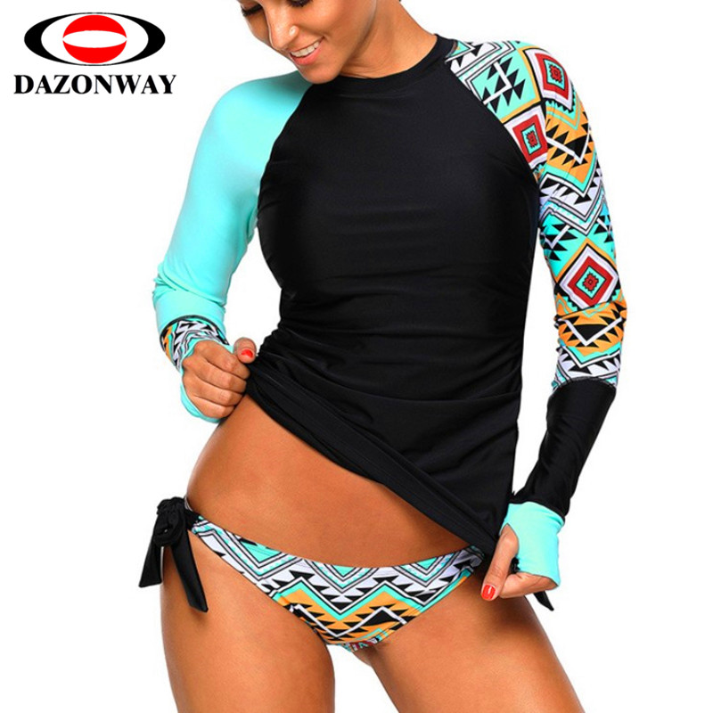 Women Rashguard Sunshade UV Protection Swimwear Patchwork Long Sleeve Two Piece Swimsuit Beach Surfing Diving Bathing Suit XXL