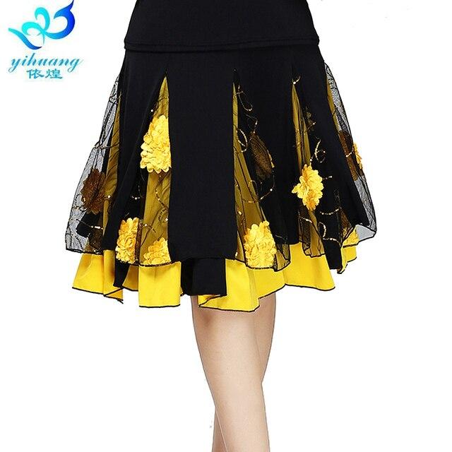 גבירותיי סלוניים ריקוד חצאית נשים מודרני סטנדרטי ואלס ביצועים חצאית שלב לטיני סלסה רומבה חגורת גומי #2625 1