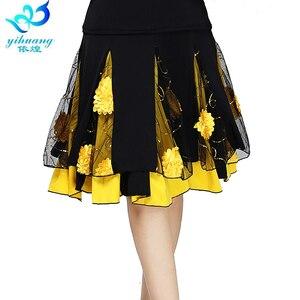 Image 1 - Senhoras saia de dança de salão feminino moderno padrão valsa desempenho saia palco salsa latina rumba cintura elástica #2625 1
