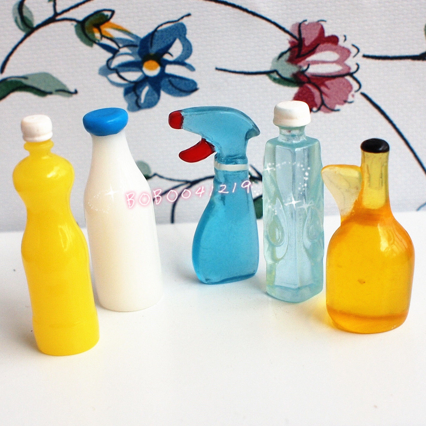 Dollhouse Miniature 1:12 Toy 5 Pieces Plastic Kitchen Bottles Height ...