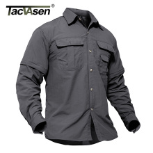 TACVASEN Мужская военная одежда легкая армейская рубашка быстросохнущая тактическая рубашка Летняя Съемная с длинным рукавом рабочие охотничьи рубашки