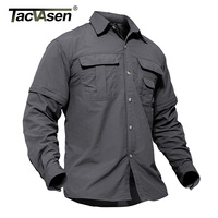 Outdoor Brand Hiking Shirt Men Removable Quick Dry Breathable Tactical Shirt Summer Hiking Camping Fishing Long