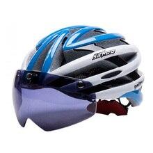 UV400 Очки Мотоцикл Велосипед Велоспорт Шлем Сверхлегкий и интегрального под давлением MTB Дорога шлем РАЗМЕР: 58-62 см + защитное Снаряжение