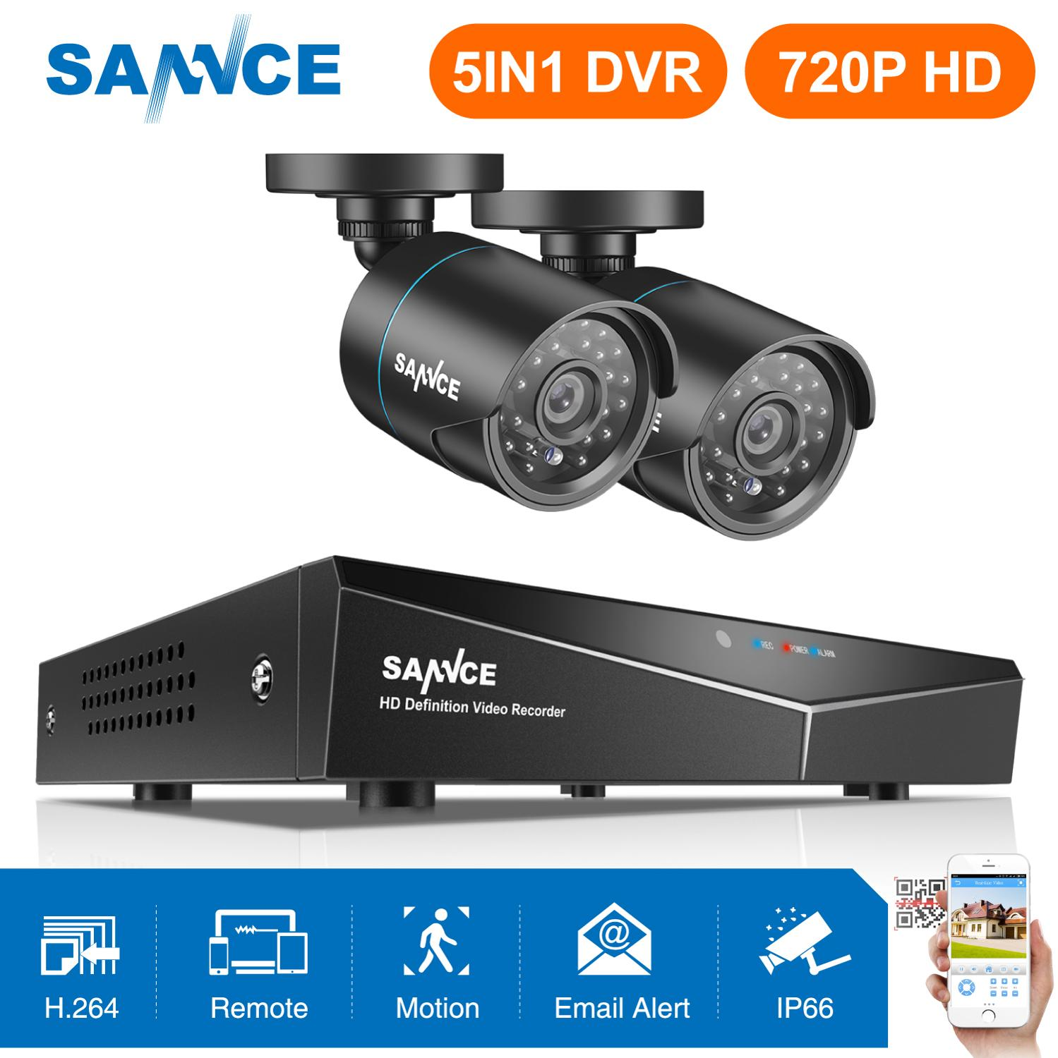 SANNCE 4CH 5IN1 720P Home Security System 1080N HDMI DVR With 2PCS 100W TVI CCTV Camera Outdoor Weatherproof Surveillance KitSANNCE 4CH 5IN1 720P Home Security System 1080N HDMI DVR With 2PCS 100W TVI CCTV Camera Outdoor Weatherproof Surveillance Kit