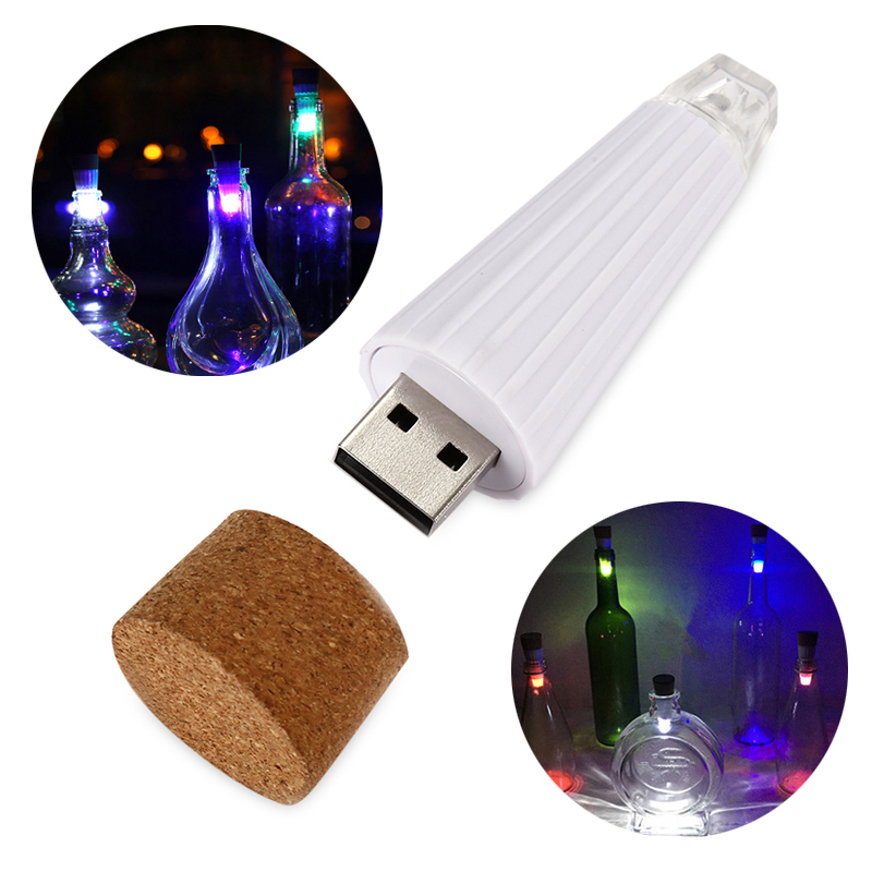 Party Decoration Cork Lighting Rechargeable USB LED Night Lights, Multicolor Wine Bottle Lamps