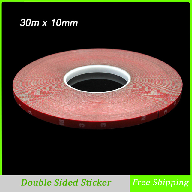 30m x 10mm Double Sided Tape Acrylic Foam Adhesive, Car Interior Exterior Accessories Tape Sticker Free Shipping