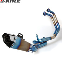 Motorcycle Exhaust Pipe Muffler pipe Titanium Alloy Scooter Modified Muffler for YAMAHA YZF R3 2014 2016 YZF R3 YZFR3