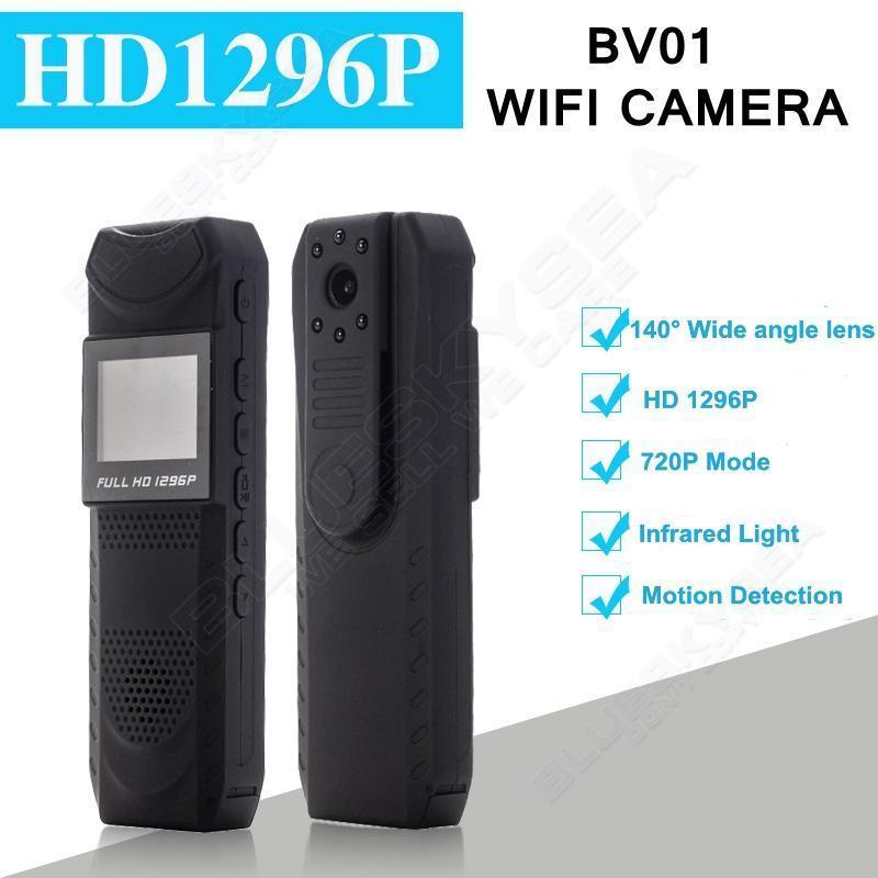 imágenes para Blueskysea bv01 hd 1296 p novatek 96650 luz infrarroja mini dvr cámara cuerpo policial de bolsillo cámara de grabación de bucle