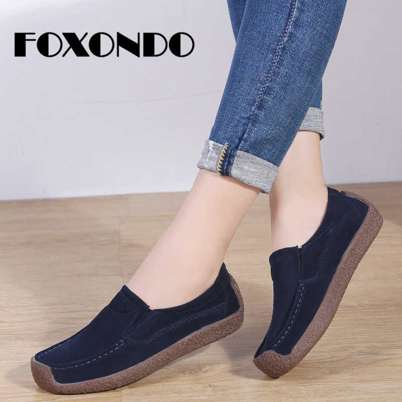 FOXONDO 2019 Spring Women Flats Ladies Ballet Flats Shoes Female Boat Oxford Shoes Moccains   Leather     Suede   Slip on Loafers Shoes
