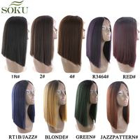 Ombre Blonde Synthetic Lace Front Wigs For Black Women SOKU Yaki Straight Middle Part Kanekalon Bob Lace Front Wig 150% Density