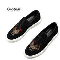 Ovxuan Men's Loafers black rhinestone Handmade Luxury Brand men casual shoes Gold Cock Party Wedding Dress slippers men Shoes