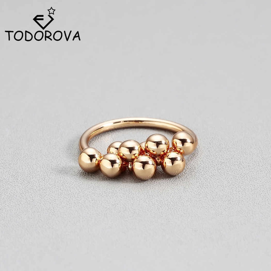 Todorova Female Cute Bead Pendant Finger Ring Gold Color Engagement Rings for Women Fashion Wedding Rings Best Gift