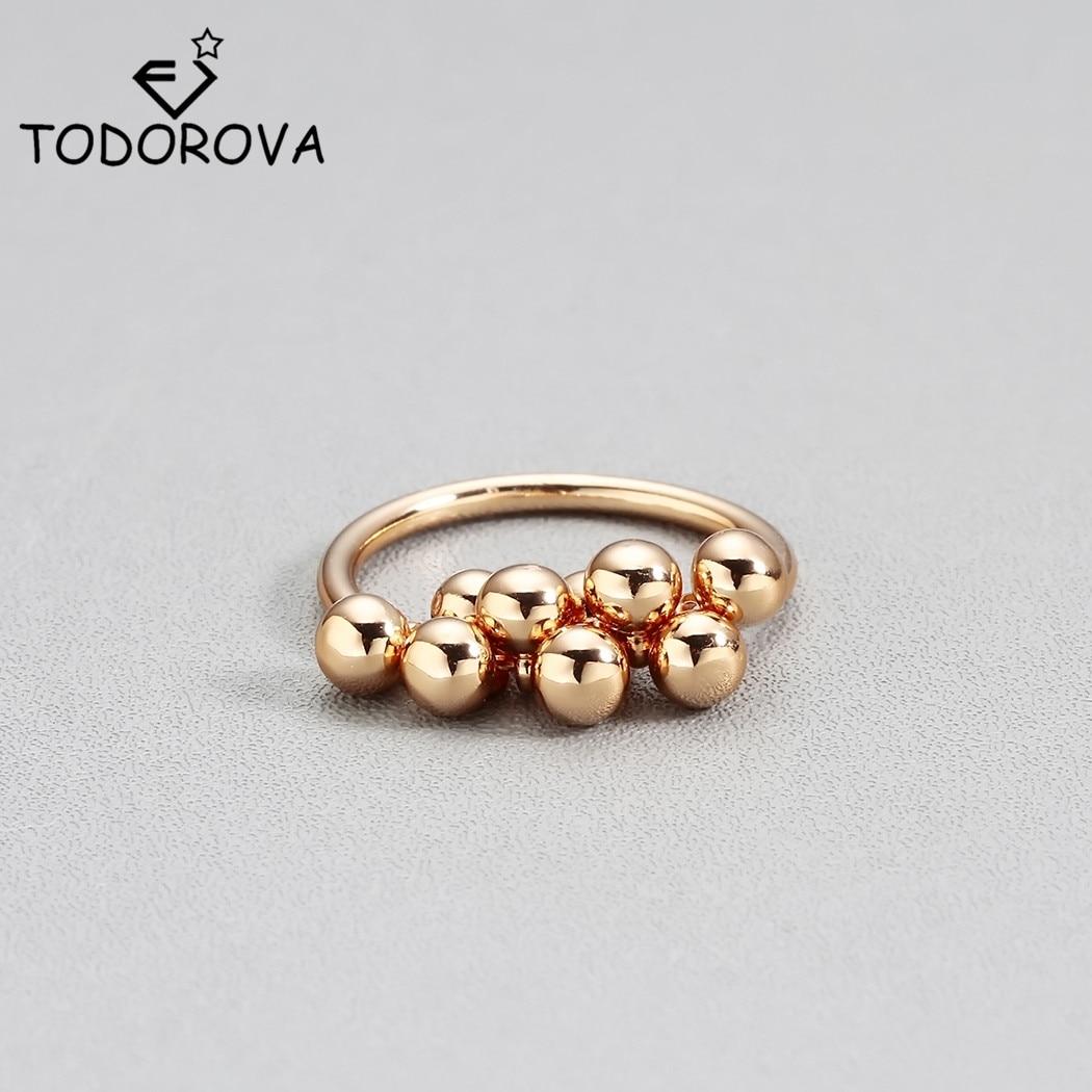 Todorova Female Cute Bead Pendant Finger Ring Gold Color Engagement Rings for Women Fashion Wedding Rings Best Gift