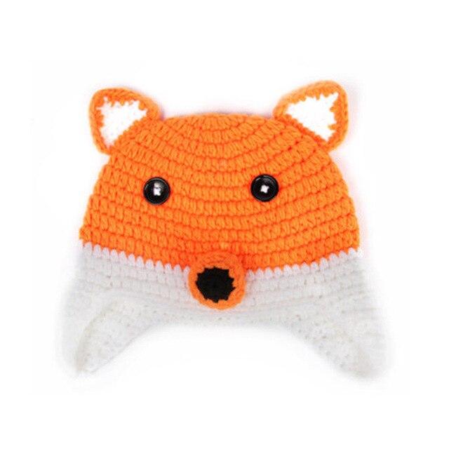 Roupas de crochê recém-nascido forma raposa tampa chapéus de lã de algodão  engraçado Touca ebd71545050