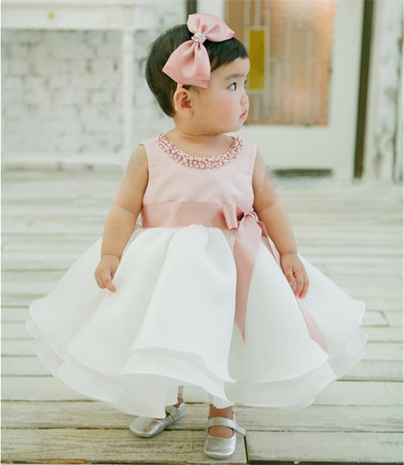 2bf71cc6c5235 US $9.88 30% OFF|Newborn Baby Girls Summer Clothes Dress Toddler Girl 1  Year First Birthday Outfits Pink Tutu Kid Party Dresses 6 12 24 Months-in  ...