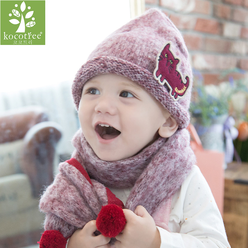 Baby Winter Hat and Scarf Set Very Warm Infant Beanie Cap for Children Boys Girls Animal Cat Style Kids Crochet Knitted Shawl