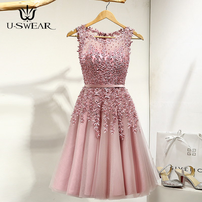 U-SWEAR Sexy Fashion O-Neck Sleeveless Illusion Flowers Beading A-line Knee-Length Dinner   Bridesmaids     Dresses   Party Formal   Dress