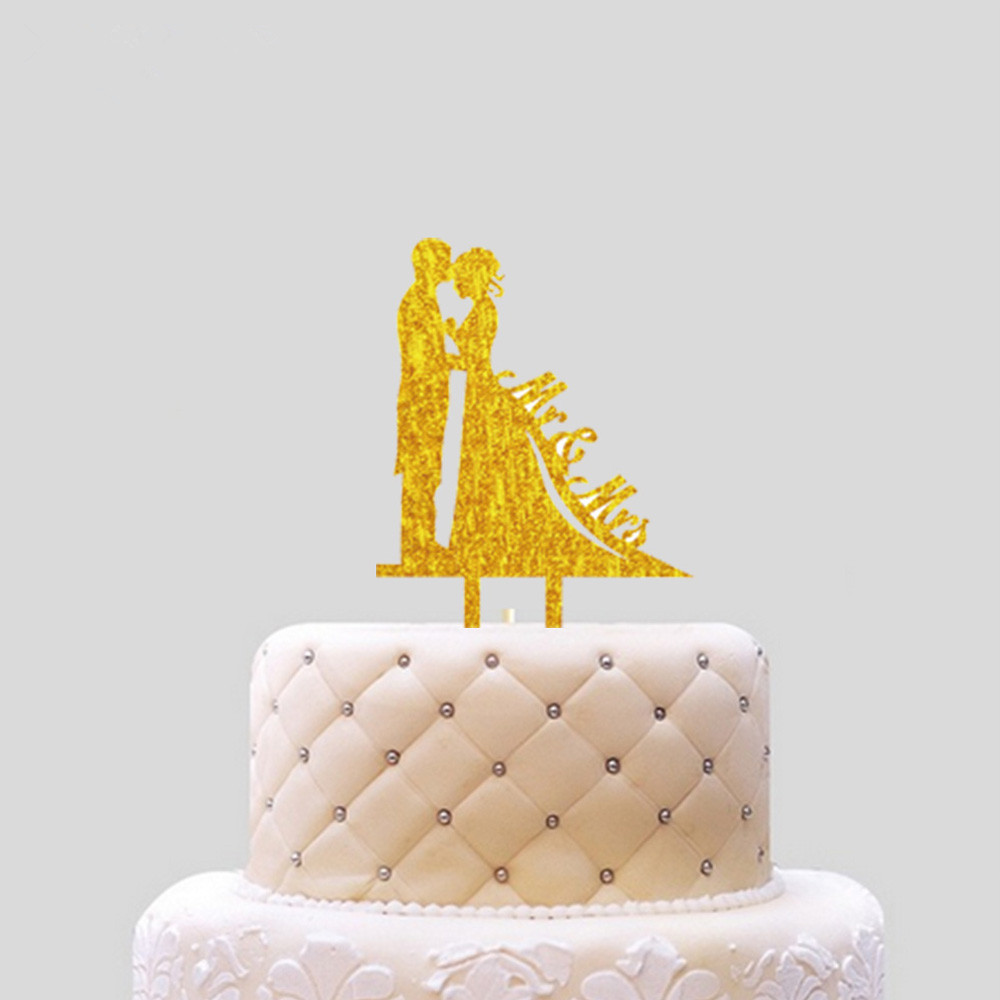 Hot 1PC Bling Gold Sliver Mr Mrs Love Happy Birthday Insert Cards Propose Marriage Cake Decoration Wedding Party Lovely Gifts