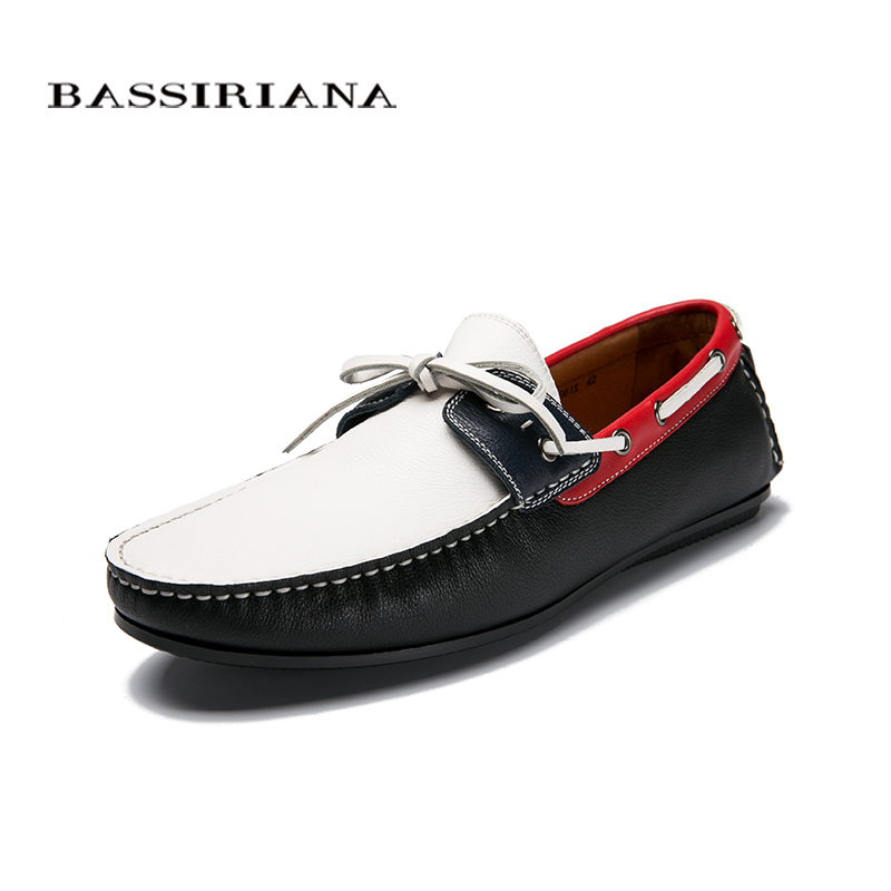 Mens casual shoes New spring 2017 Genuine leather High quality Fashion shoes for men 39-45 size Free shipping BASSIRIANA