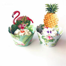 24Pcs Tropical Rainforest Flamingo Pineapple Cupcake Birthday Party Decorations Kids Centerpiece Party Decor Cake Topper(China)
