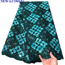 Африканская Тюлевая кружевная ткань высокого качества Зеленая африканская Orangza кружевная ткань с блестками для африканского свадебного платья HA-001